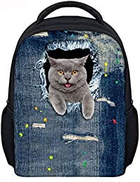 Denim Style Cute Cat Printed Kids Mini Backpack Toddler Kitty Preschool Bag Kbp-Ca4916F By Collect Beauty