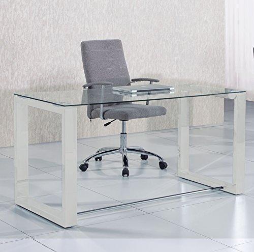 Mesa de estudio oficina Office , cristal transparente y blanco, medidas 140 cm x 70 x 75 de altura