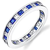Bague de mariage en Argent sterling avec zircone cubique et saphir bleu taille princesse. Pour Femme