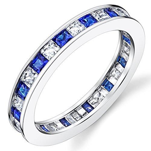 Bague de mariage en Argent sterling avec zircone cubique et saphir bleu taille princesse. Pour Femme taille 54
