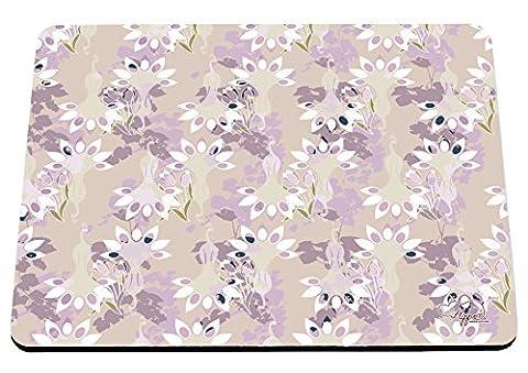 hippowarehouse Floral Pfau Muster bedruckt Mauspad Zubehör Schwarz Gummi Boden 240mm x 190mm x 60mm, Pink and Yellow, Einheitsgröße