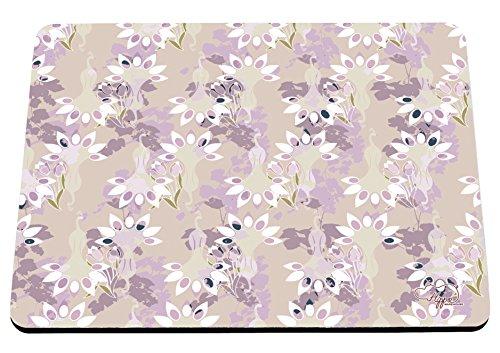 hippowarehouse Floral Pfau Muster bedruckt Mauspad Zubehör Schwarz Gummi Boden 240mm x 190mm x 60mm, Pink and Yellow, Einheitsgröße Bush Stift