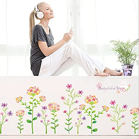 Colorful Flowers Skirting Line Wall Sticker Decal Home Decor PVC Murals Wallpaper House Art Picture Living Room Adult Senior Teen Kids Baby Bedroom Decoration