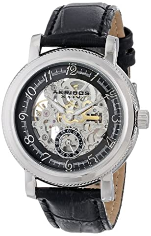 Akribos XXIV Hommes de rétro automatique squelette Argenté en acier inoxydable Bracelet en cuir noir montre