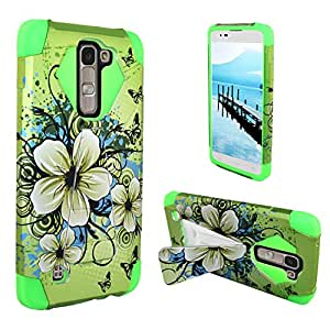For Nokia Lumia 650 - Hybrid Turbo Design w/ Kickstand SC & PC Layered - Hawaiian Flowers HYBTBDP