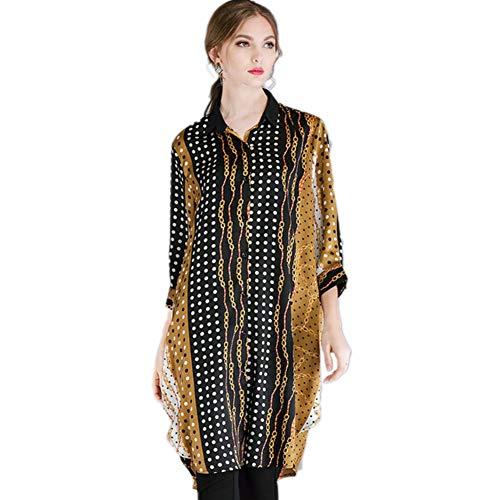 Button-down-falten Hemd (QJKai Damen Plus Größenhemd, Mode Kontrast Oberseiten-beiläufigen Revers Button-Down-Blusen, Lose Bedruckte Lange Bluse Hemd mit unregelmäßigem Saum)