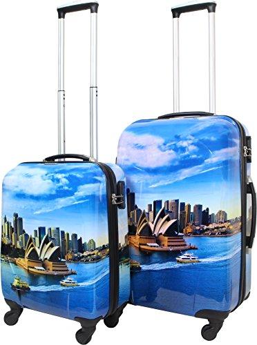 ABS Hartschalen Kofferset mit Leichtlaufrollen verschiedenen Motiven Farbe Sydney