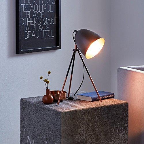 Licht-Trend Stake Tischleuchte mit Wow-Effekt Schwarz & Kupfer Tischlampe Nachtischlampe Retro Vintage Leselampe Schreibtisch Lampe -