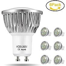Bombillas LED GU10, 7W 18 x 3014 SMD Lámpara LED, Equivalente a 60Watt Lámpara Incandescente, Blanco Frío 6000K, 500lm, AC85-265V, 140 ° ángulo de haz, Pack de 6 by Jpodream
