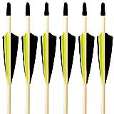 Lantelme 6888-6 Stück Bogenpfeile 5/16 mit 4 Zoll Naturfedern Bogensport Pfeile mit 32 Zol - 81,3 cm länge