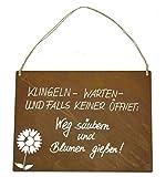 Metallmichl Edelrost-Schild mit Beschriftung Klingel Warten und Falls Keiner öffnet Blumen Gießen und Weg Säubern Höhe 25 cm