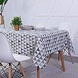 Unimall Tovaglia Rettangolare in Lino con Motivo Geometriche Triangolare Resiste all'umidità Adatto per Tavola Quadrata Tavola Rotonda Tavolino Lavabile 140x200cm