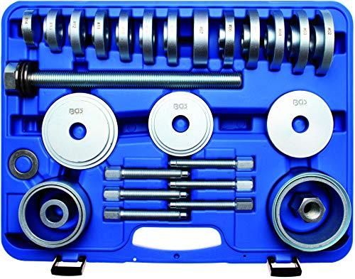 BGS Radlager Werkzeug-Satz 31-teilig (für PKW-Radlager; mit Druckplatten, Glocken, Demontage-Bolzen, Spindel usw.) 67301