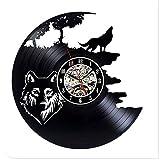 Yanshu Reloj de Pared de Vinilo para la decoración del hogar The Wolf Modern Design Record 12 Inch 3D