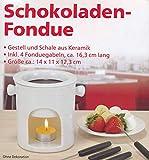 Schokoladen-Fondue aus Keramik inkl. 4 Fonduegabeln - ca. 14 x 11 x 12,3 cm