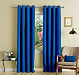 Lushomes Blue Polyester Blackout Curtain...