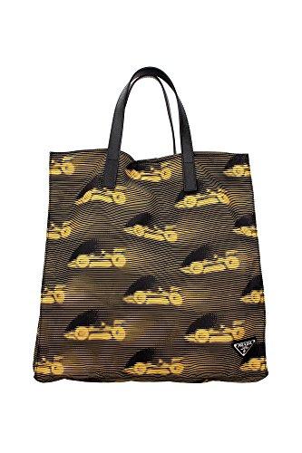 2VG905NEROGIALLO Prada Sacs de shopping Homme Tissu Noir Noir