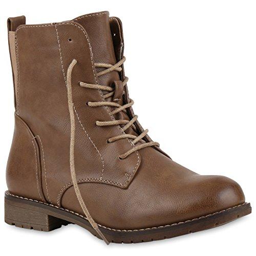 Damen Schnürstiefeletten Profilsohle Boots Camouflage Stiefeletten Leder-Optik Schnür Übergrößen Schuhe 121534 Braun Berkley 37 | Flandell®
