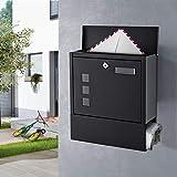 BONADE Cassetta della posta antracite verniciata a polvere Montaggio a parete/Cassetta postale impermeabile per il giornale/Dimensioni : 24,5 x 34 x 10 cm/Colori: antracite