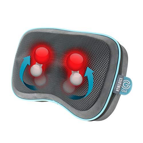 HoMedics Gel Shiatsu Wärme-Reisekissen - Massagekissen für Beine, Lendenwirbelsäule, Schultern und Nacken, wiederaufladbar, Reisegröße mit integrierten Bedienelementen, inklusive Reisetasche, grau