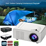 Hanbaili Noir (EU Plug) 1500 Lumens Multimédia Portable Mini LED Projecteur, 800 * 480 Home Cinéma PC USB HDMI AV VGA SD pour Home Cinéma Pour Owlenz SD50 Plus