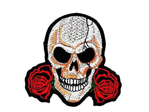 rabana rot Rose Love sterben nie Playboy Skull Ghost Skelett Valentine 's Day Biker Motorrad Patch für Heimwerker-Applikation Eisen auf Patch T Shirt Patch Sew Iron on gesticktes Badge Schild Kostüm (Skelett Valentines)