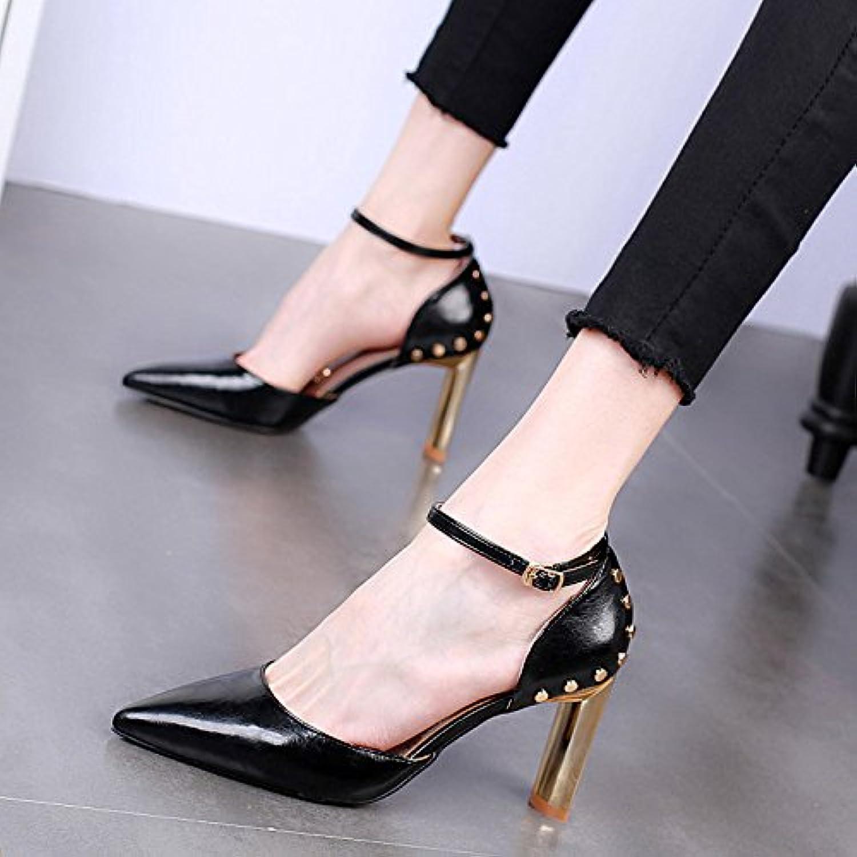 KPHY-En Verano Pointcuts Bruto 9Cm Tacones Altos Tacones Moda Sandalias Sexy Remaches Hebillas Zapatos De Mujer...