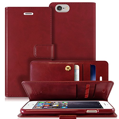 iPhone 6S Plus/6 Plus Hülle, [Drop Protection] Goospery Rich Diary [Wallet Case] Premium weiche Kunstlederhülle [ID Card & Cash Slot] Cover für Apple iPhone 6S Plus/6S Plus [5,5 Zoll], MANSOOR Wine - Iphone Plus 6 Cell Phones Sprint