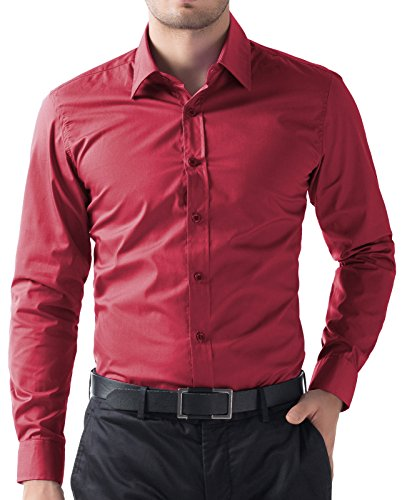 Paul Jones® Herren Casual Slim Fit Langarm Hemd GD5252 Rot