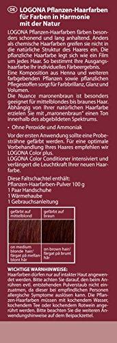 LOGONA Naturkosmetik Coloration Pflanzenhaarfarbe, Pulver - 070 Maronenbraun - Braun, Natürliche & pflegende Haarfärbung (100g) - 2