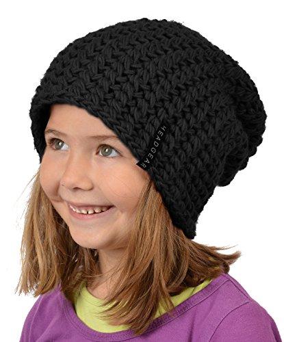 Stylische Oversize Häckelmütze für Mädchen : Mädchen Oversize Häkel Beanie Farbe: schwarz