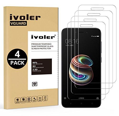 ivoler [4 Unidades] Protector de Pantalla para Xiaomi Redmi 5A, Cristal Vidrio Templado Premium, [Dureza 9H] [Anti-Arañazos] [Sin Burbujas]
