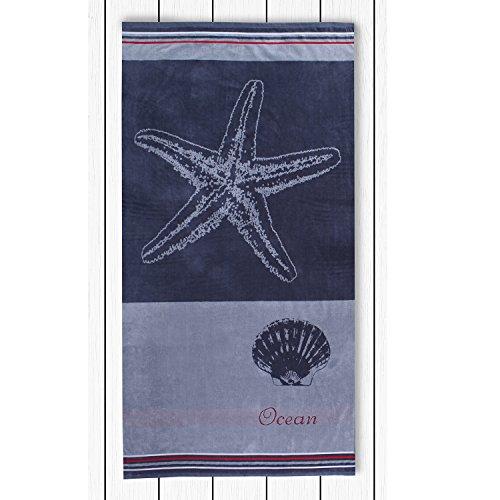 DecoKing 20418 Strandtuch 90x180 cm Baumwolle Frottee Velours Badetuch Duschtuch Muschel grau Stahl anthrazit Grafit rot weiß Grey Steel Anthracite Graphite red White Grey Ocean - 2