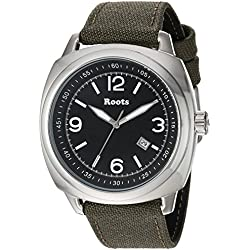 Roots Men's 'Core' Quartz Stainless Steel and Canvas Casual Watch, Color:Green (Model: 1R-PR100BA6G)