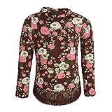 Cutecumber Girls Knit Floral Printed Brown Top (CC788A-BROWN-18)