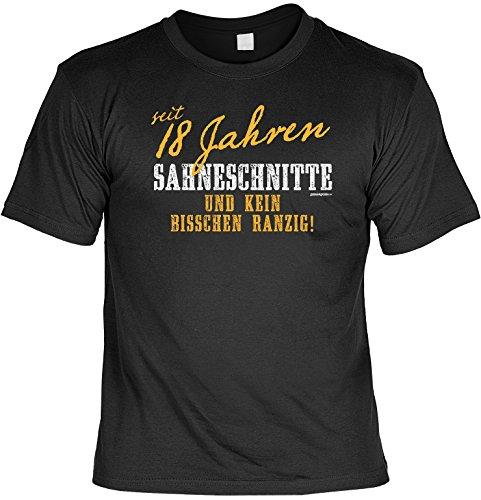 Spaß/Fun-Shirt mit Geburtstags-Aufdruck: seit 18 Jahren Sahneschnitte und kein bisschen ranzig - lustiges Geschenk Schwarz