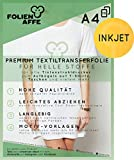 10 Blatt Premium A4 T-Shirt Transferfolie für HELLE Textilien/Stoffe zum Aufbügeln - inkl. 50+ GRATIS Motiv-Vorlagen - Transferpapier/Textilfolie geeignet für alle Inkjet Tintenstrahldrucker