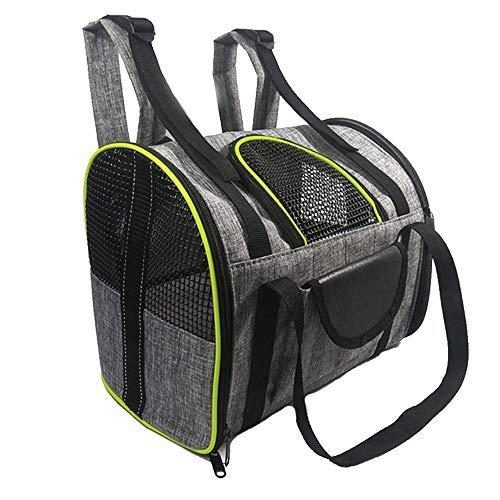 Pet Träger Rucksack, Pet Reisetasche, Belüftung Leichte Pet Rucksack Tasche Handtasche, Entwickelt Für Walking & Outdoor-Einsatz, 35 * 23 * 28Cm,Gray+Green -