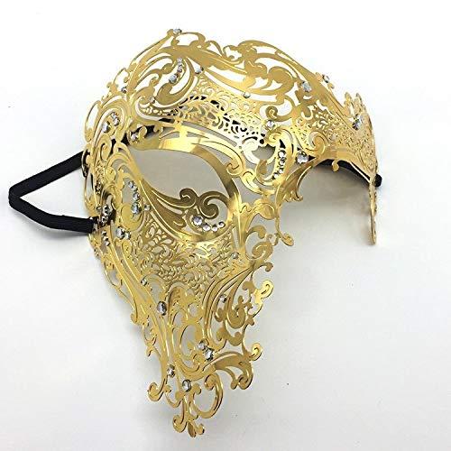 LMCLJJ Masken Maskerade Maske Karneval Maske Maske Herren Signature Phantom der Oper Half Face Mask Metal (Color : Gold)