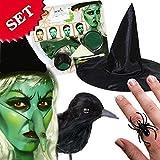 Schminkset Hexe mit Hut, Rabe und Spinnenringen