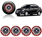 #4: Auto Pearl - Premium Quality Car Full Wheel Cover Caps Red and Black 14 Inches Press Type Fitting For - - Maruti Suzuki Swift Dzire Type-3