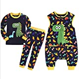 HB.YE Baby Schlafanzug Kinder Schlafsack mit Füßen Baumwolle Strampler Jungen Mädchen unisex warm Winter Cartoon (3-Stück - Dinosaurier, M)
