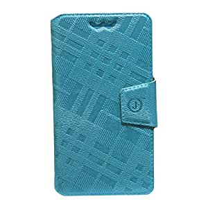 Jo Jo Cover Krish Series Leather Pouch Flip Case With Silicon Holder For Gionee Elife E3 Light Blue