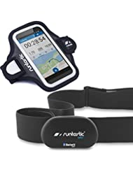 Runtastic Bundle Promotion RUNBT1 + RUNARM3, Heart Rate Combo Monitor, Herzfrequenzmesser Bluetooth Smart + Sports Armband 3.0 Behälter Armbinde Neopren, Schwarz