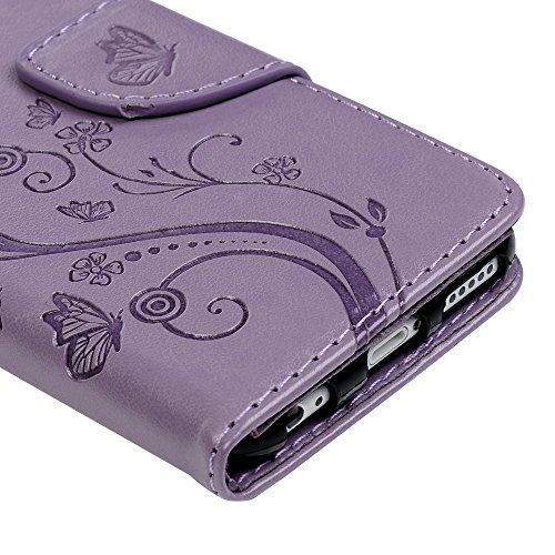Lanveni Iphone 6G Plus Iphone 6S Plus 3 en 1 Coque de Protection - Housse Étui en [PU Cuir][Portefeuille Support Flip][Fermeture Aimantée] Phone Case pour Iphone 6G Plus Iphone 6S Plus +[Stylo Capacit Violet Pâle