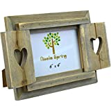 Nicola Spring Wooden Heart Shutters Freestanding Photo Picture Frame - 6 x 4""