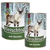 Schecker Dogreform Fleischtopf mit Rentier Fleisch 12 x 410g Dosenfutter auch für empfindliche Hunde Nassfutter glutenfrei getreidefrei