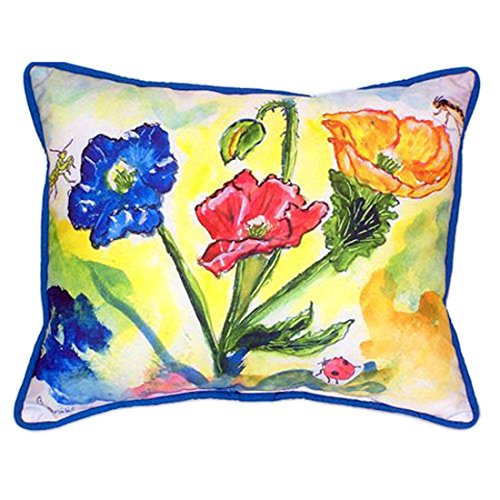 Betsy Drake Bugs e papaveri extra large 20 x 24 indoor/outdoor Pillow