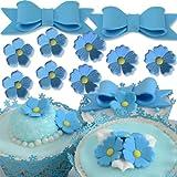 Kit fiori e fiocchi in zucchero AZZURRI per decorazione torte