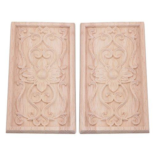 Bqlzr rettangolo intagliato in legno non verniciata Corner Onlay decalcomania applique tipo A per decorazione casa mobili porta armadio armadietto, confezione da 2, M4171229322